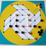 Spiel Sonnenmühle türkis-gelb, gebrandet