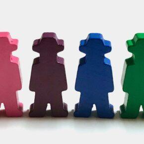 Spielfiguren für Brettspiele: Menschen mit Hut / Cowboys. Aus Holz + Made in Germany.