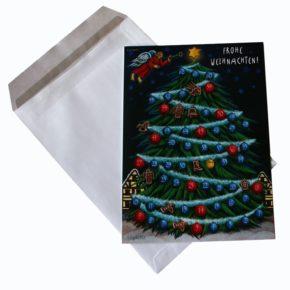 Ausgefallene Weihnachtskarten: Unsere sind SPIELBAR! Adventkalender Fenster 19: O Tannenbaum Karte.
