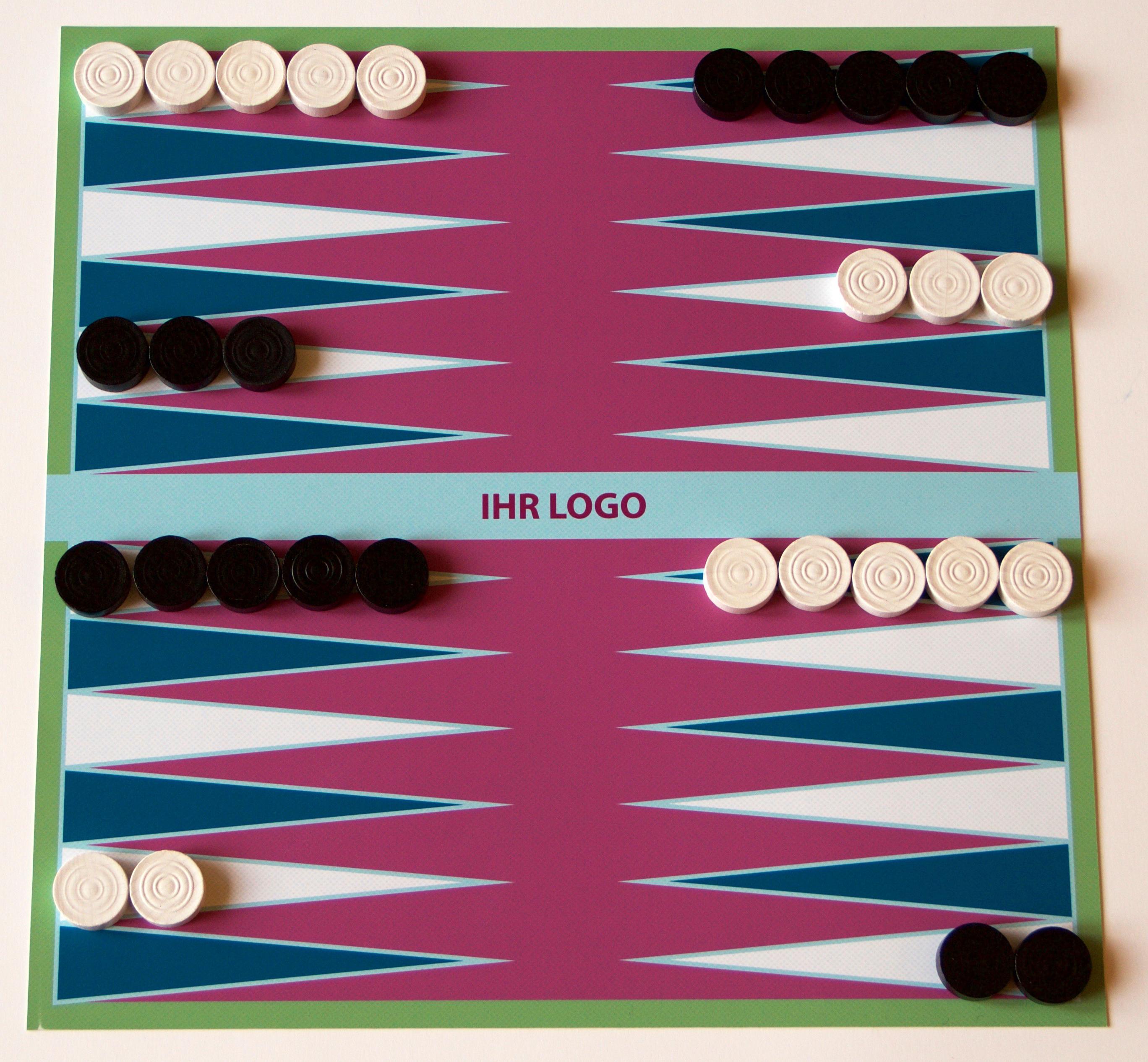 backgammon mit firmen-logo
